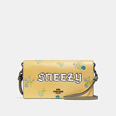 DISNEY X COACH SNEEZY FOLDOVER CROSSBODY CLUTCH