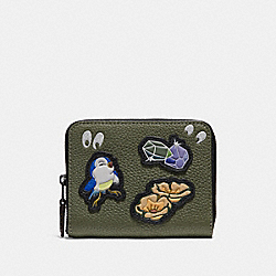 DISNEY X COACH SMALL ZIP AROUND WALLET WITH SPOOKY EYES PRINT - BP/ARMY GREEN - COACH 33058