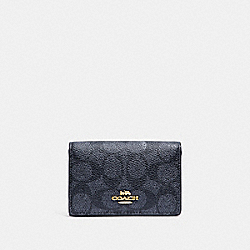 BUSINESS CARD CASE IN SIGNATURE CANVAS - CHARCOAL/MIDNIGHT NAVY/LIGHT GOLD - COACH 33068