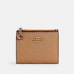 SNAP CARD CASE IN SIGNATURE LEATHER - IM/TAUPE - COACH 3306