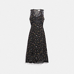WILDFLOWER PRINT SLEEVELESS DRESS - BLACK MULTI - COACH 33128
