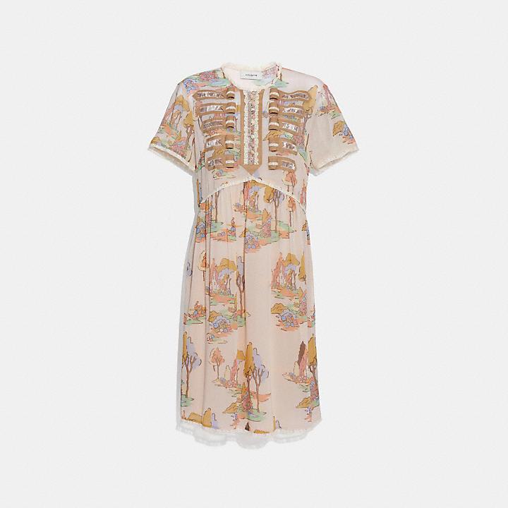 Coach Spooky Cottage Print Military Dress Coach Cheap Fashionable Shop Offer Online Cheap 100% Authentic Outlet Buy p2e9mps2