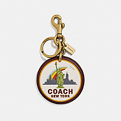 NEW YORK BAG CHARM - WINE/GOLD - COACH 33388