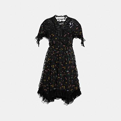 フォレスト フローラル プリンテッド ベビードール ドレス