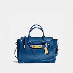 COACH SWAGGER CARRYALL IN PEBBLE LEATHER - LI/DENIM - COACH 34408