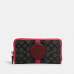 DEMPSEY ACCORDION ZIP WALLET IN SIGNATURE JACQUARD WITH STRIPE AND COACH PATCH - IM/BLACK WINE MULTI - COACH 3473