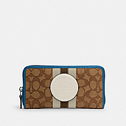 DEMPSEY ACCORDION ZIP WALLET IN SIGNATURE JACQUARD WITH STRIPE AND COACH PATCH - SV/KHAKI CLK PALE GREEN MULTI - COACH 3473