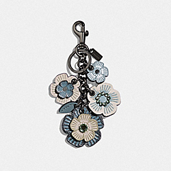CRYSTAL TEA ROSE MIX BAG CHARM - METALLIC LIGHT BLUE/DARK GUNMETAL - COACH 35446