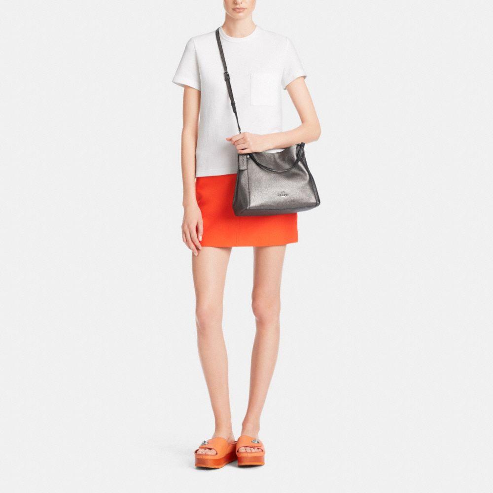 Edie Shoulder Bag 28 Metallic Pebble Leather - Alternate View M
