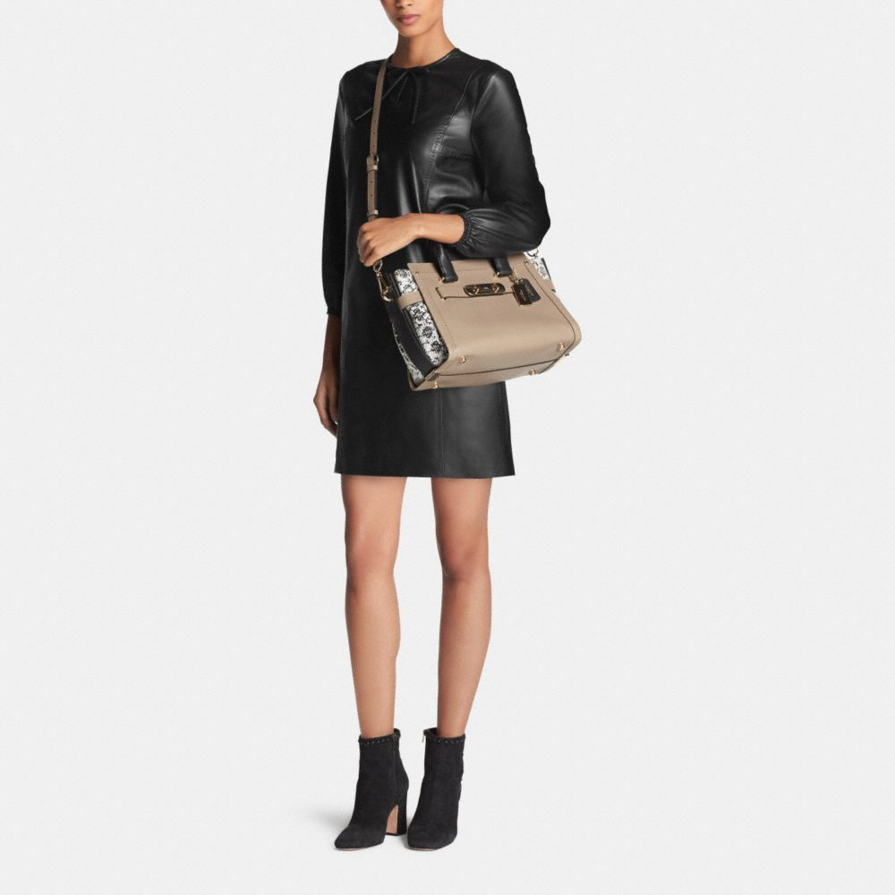 COACH SWAGGER IN COLORBLOCK EXOTIC EMBOSSED LEATHER - Alternate View M1