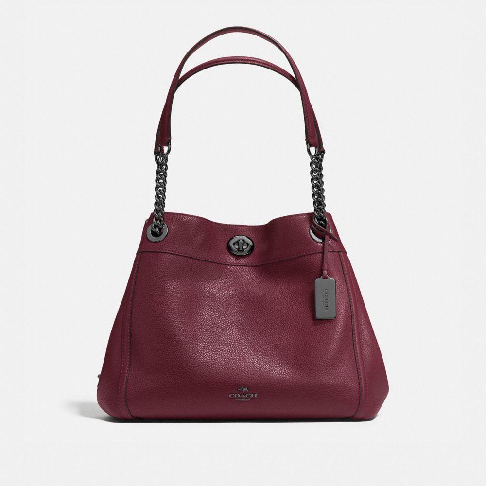 Turnlock Edie Shoulder Bag in Polished Pebble Leather