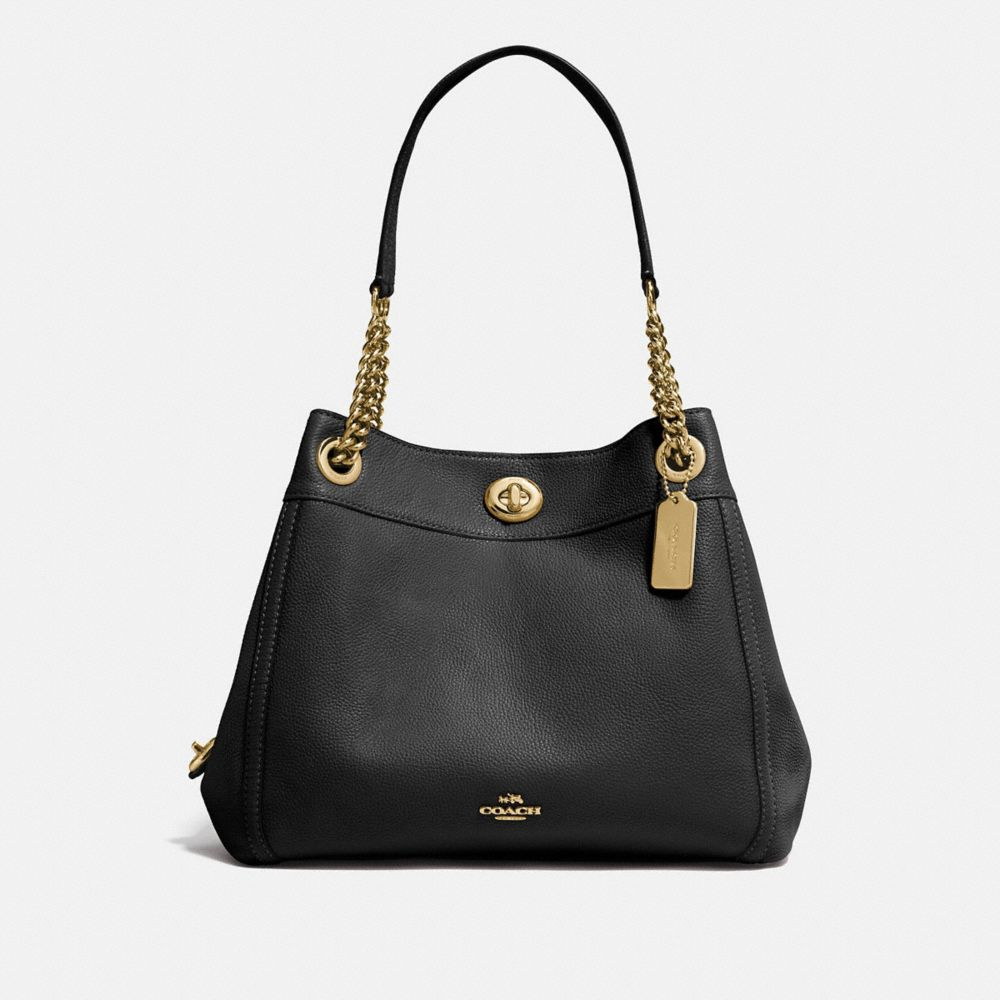 TURNLOCK EDIE SHOULDER BAG IN POLISHED PEBBLE LEATHER - Alternate View