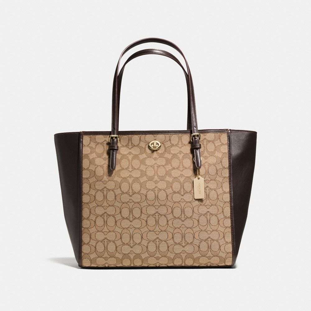 TURNLOCK TOTE IN SIGNATURE JACQUARD - Alternate View
