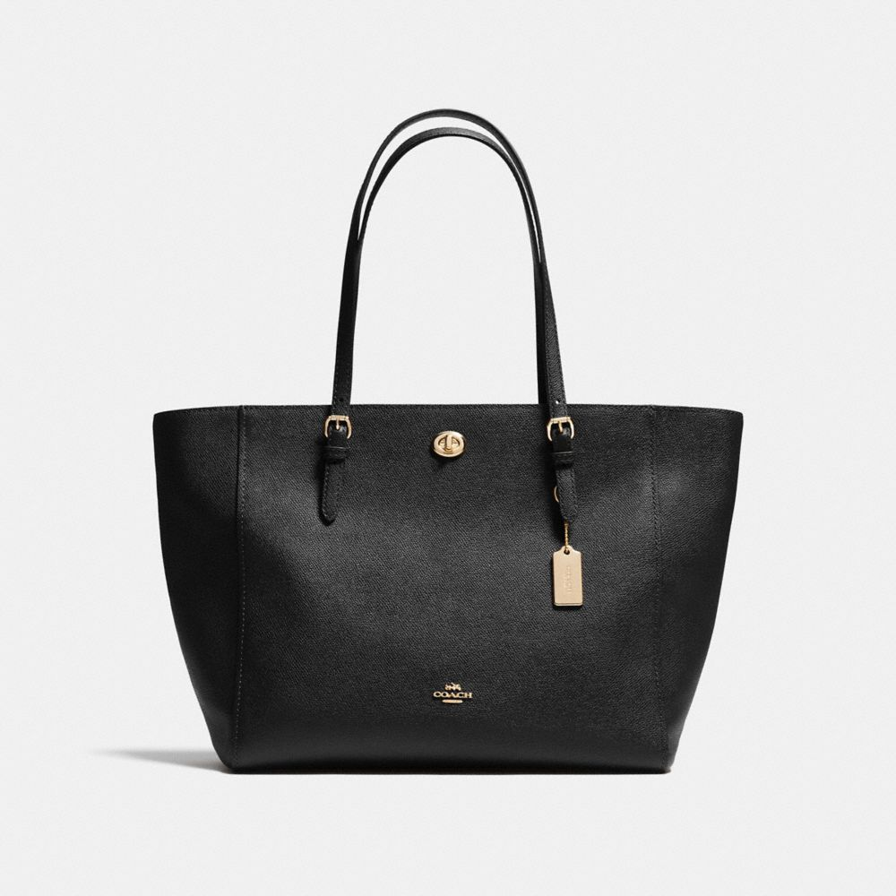Turnlock Tote in Crossgrain Leather