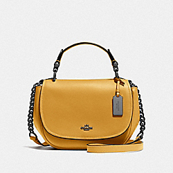 COACH NOMAD TOP HANDLE CROSSBODY IN GLOVETANNED LEATHER - DK/FLAX - COACH 37180