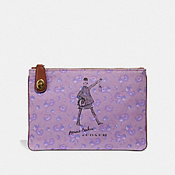 BONNIE CASHIN WALKING TURNLOCK POUCH 26 - PURPLE/BRASS - COACH 37374