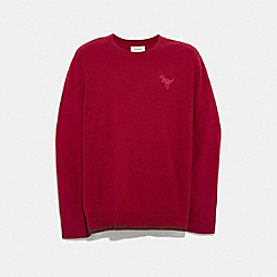 REXY PATCH CREWNECK SWEATER - RED - COACH 37473