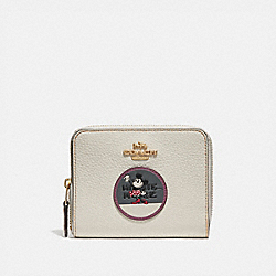 BOXED MINNIE MOUSE SMALL ZIP AROUND WALLET WITH PATCHES - CHALK/LIGHT GOLD - COACH 37546B