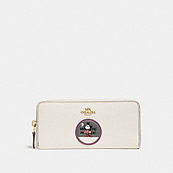 BOXED MINNIE MOUSE SLIM ACCORDION ZIP WALLET WITH PATCHES - LI/CHALK - COACH 37547B
