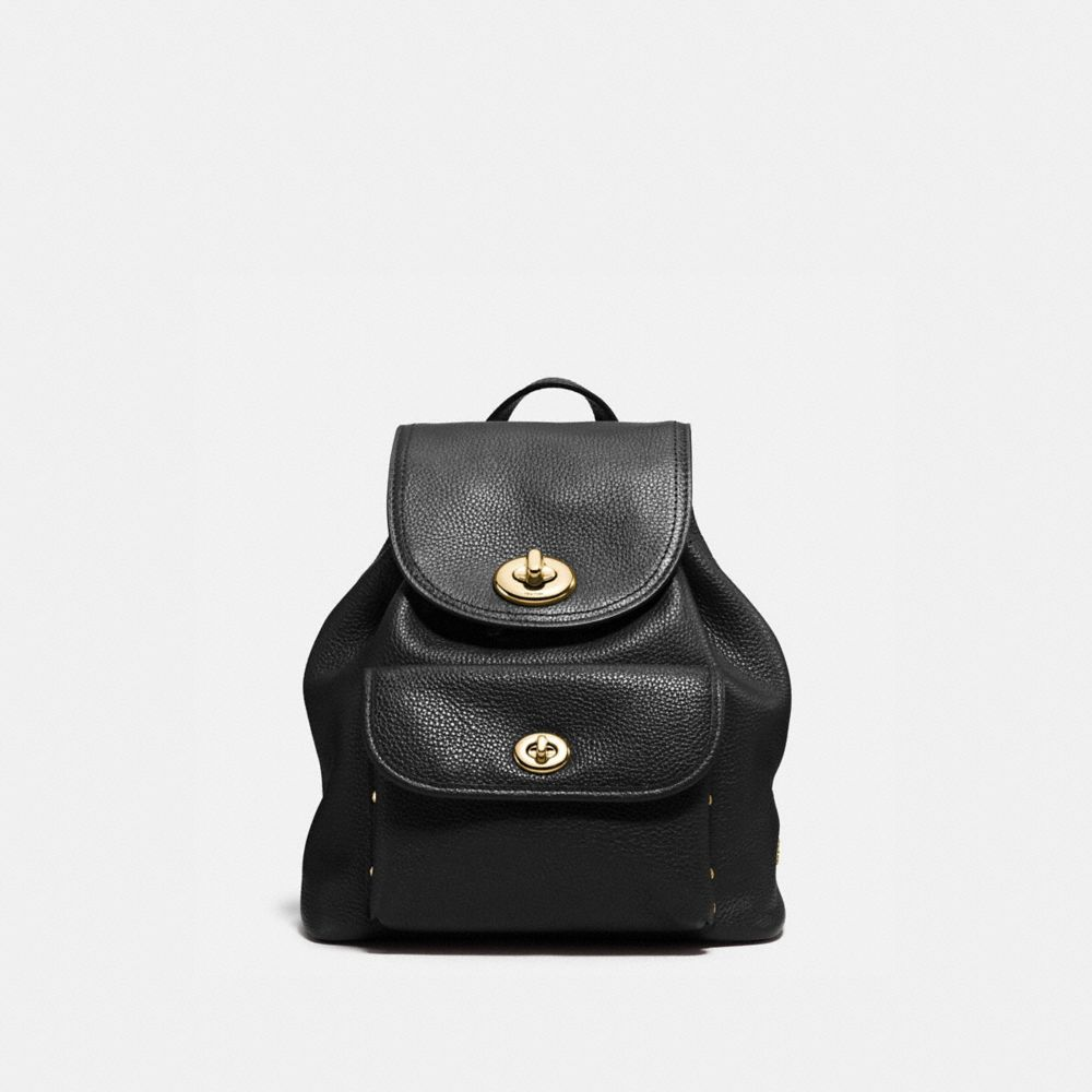 MINI TURNLOCK RUCKSACK IN POLISHED PEBBLE LEATHER - Alternate View