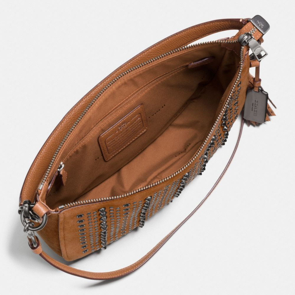 ALL OVER STUDS AND GROMMETS CHELSEA CROSSBODY IN SUEDE - Alternate View A1