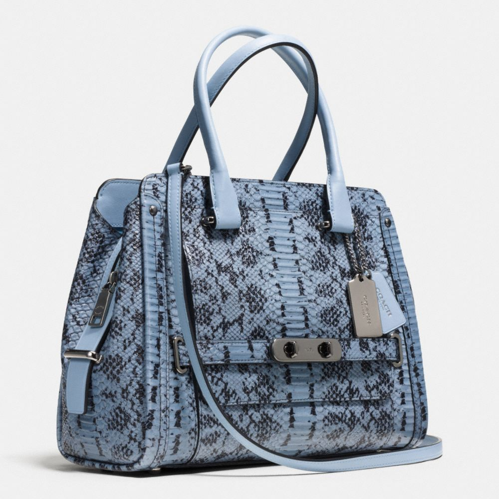 Coach Swagger Frame Satchel in Colorblock Exotic Embossed Leather - Alternate View A2