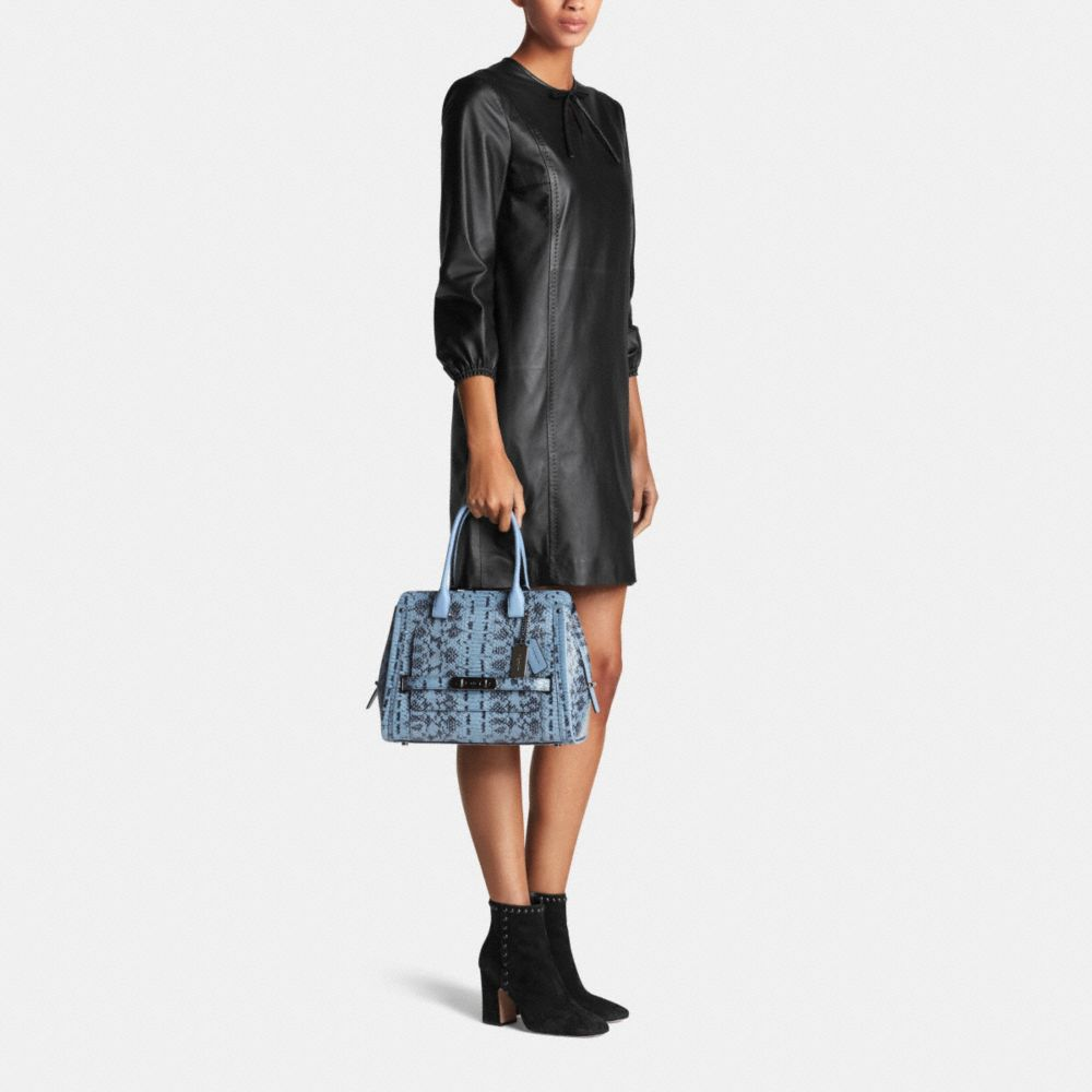 Coach Swagger Frame Satchel in Colorblock Exotic Embossed Leather - Alternate View M2