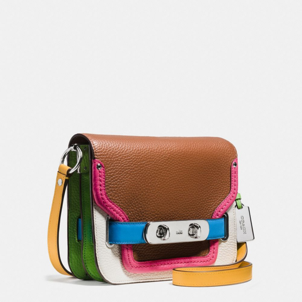 Coach Swagger Shoulder Bag in Rainbow Colorblock Leather - Alternate View A2