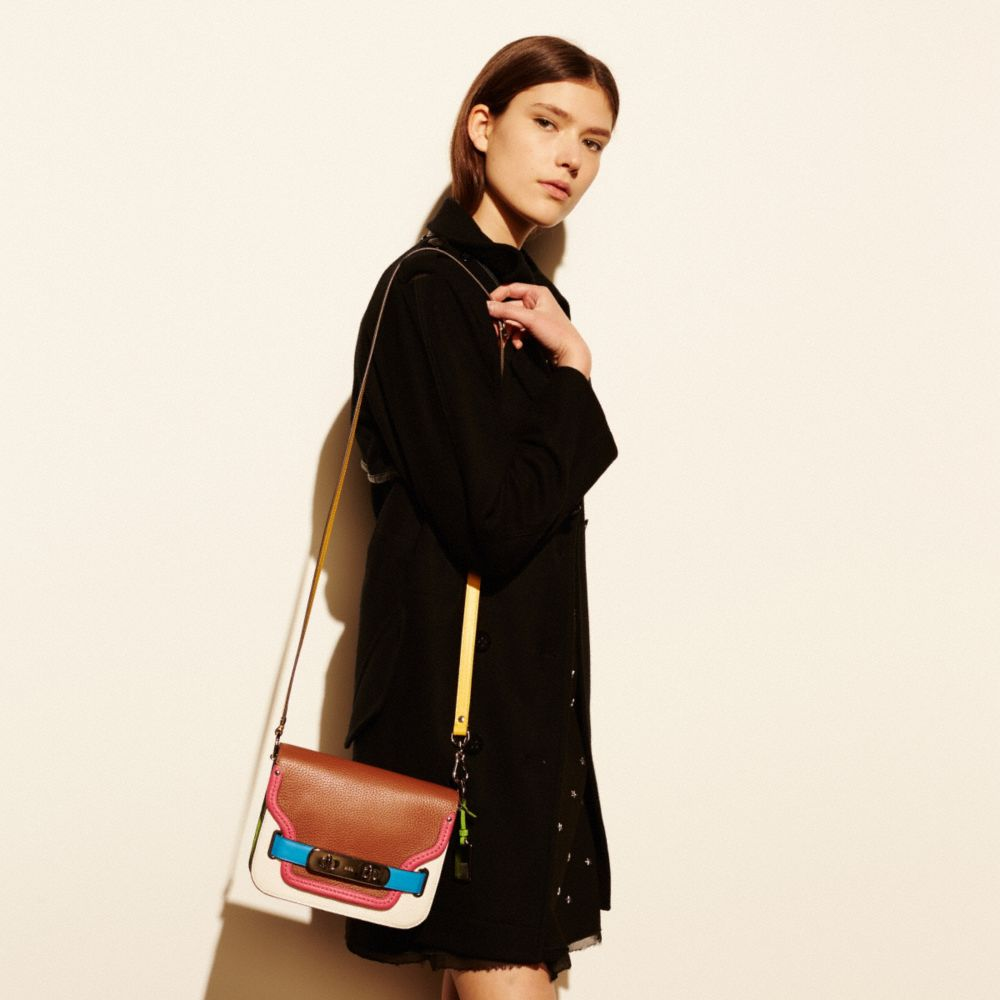 COACH SWAGGER SHOULDER BAG IN RAINBOW COLORBLOCK LEATHER - Alternate View A4