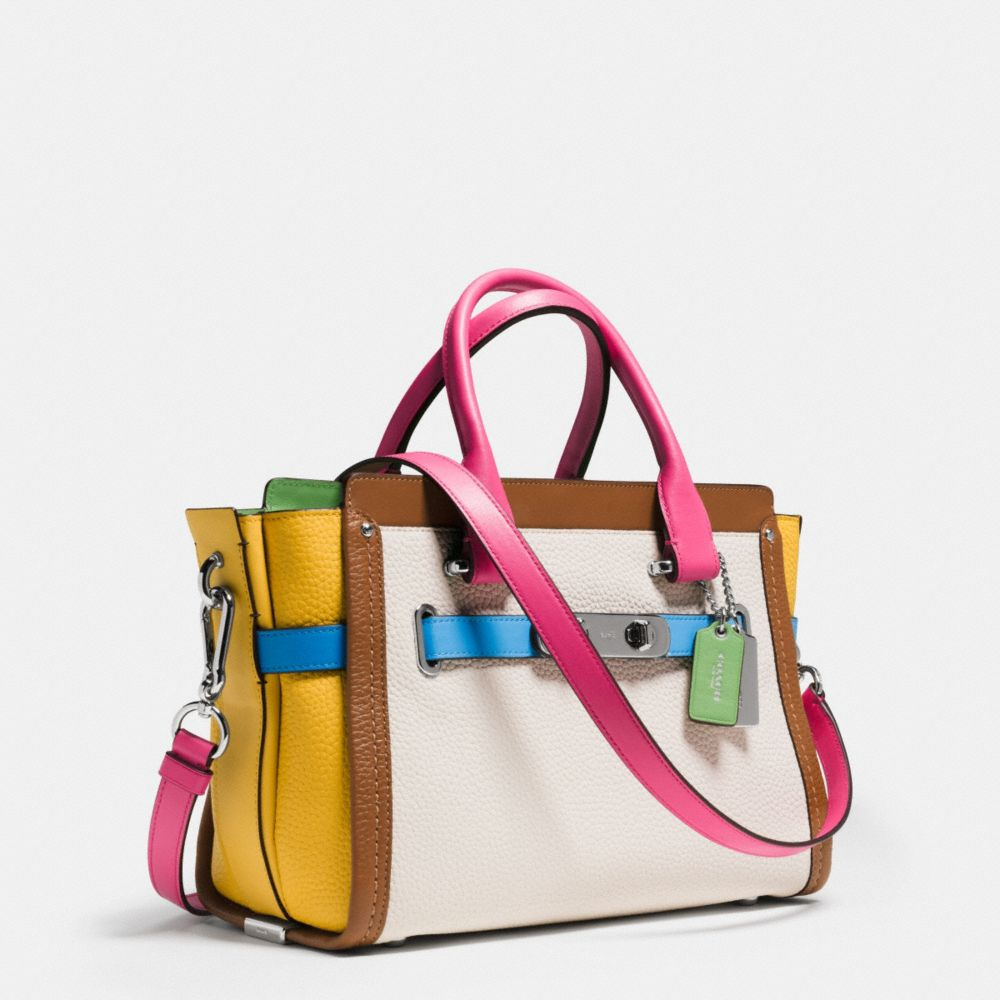 Coach Swagger 27 Carryall in Rainbow Colorblock Leather - Alternate View A2