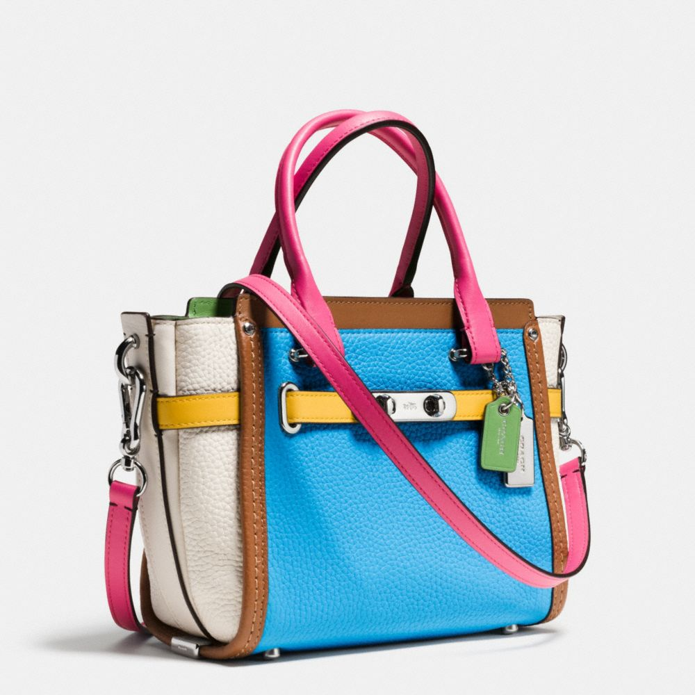Coach Swagger 21 Carryall in Rainbow Colorblock Leather - Alternate View A2