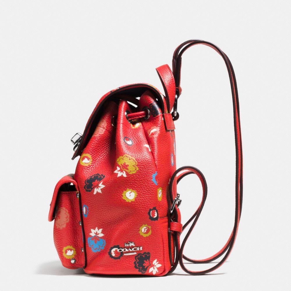 Mini Turnlock Rucksack in Floral Print Leather - Alternate View A1