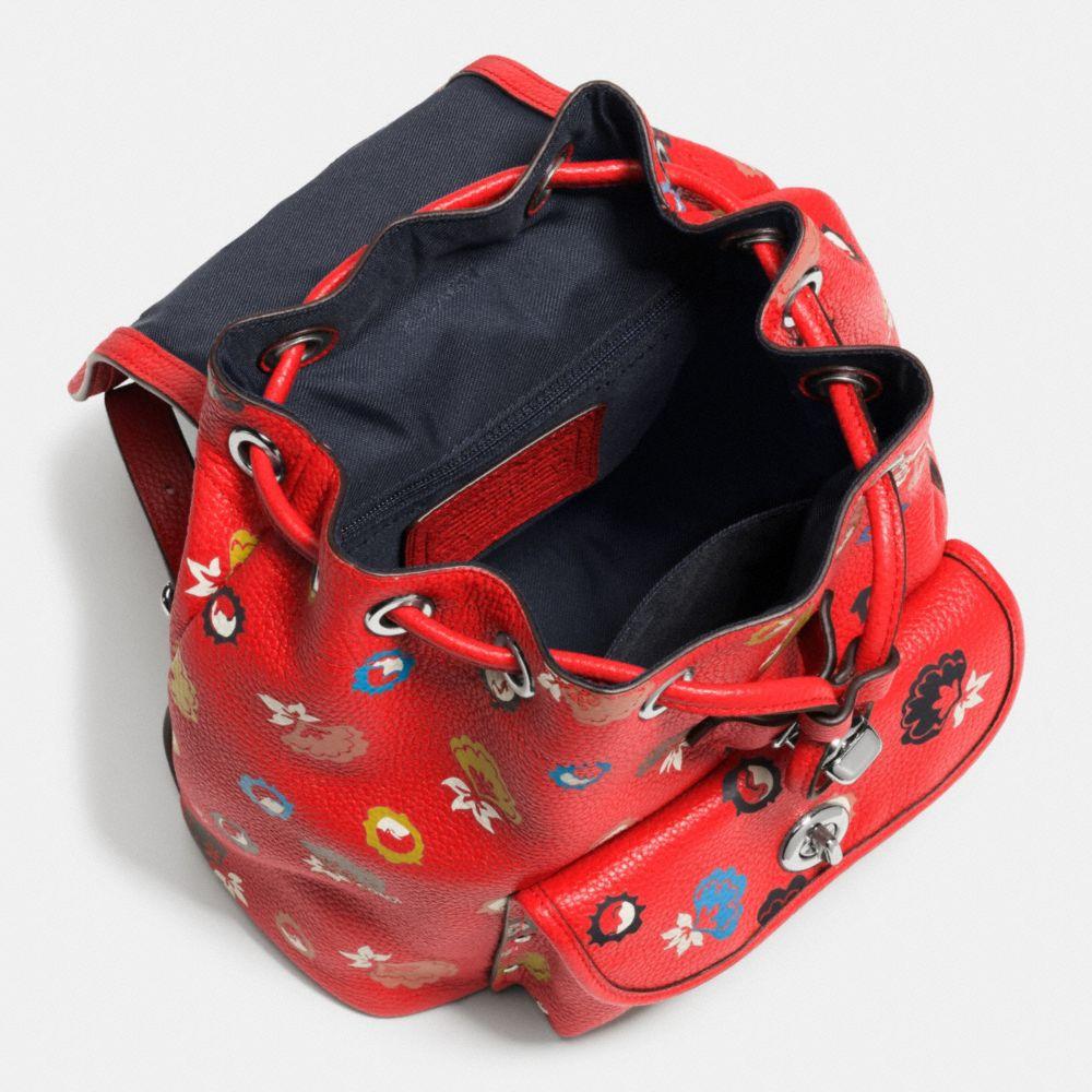 Mini Turnlock Rucksack in Floral Print Leather - Alternate View A3