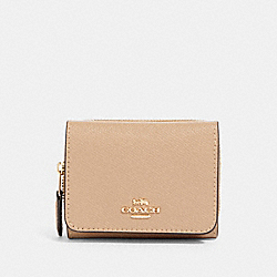 SMALL TRIFOLD WALLET - IM/TAUPE - COACH 37968