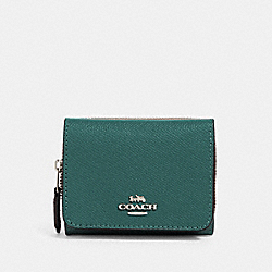 SMALL TRIFOLD WALLET - SV/DARK TURQUOISE - COACH 37968