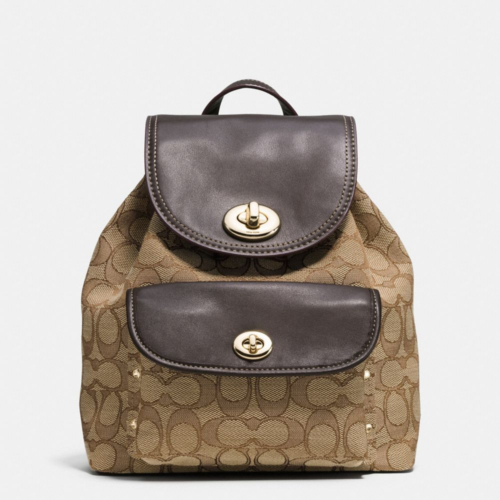 Mini Turnlock Rucksack in Signature Jacquard