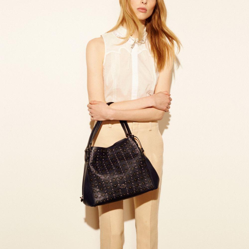 Edie Shoulder Bag 31 in Floral Rivets Leather - Alternate View A4