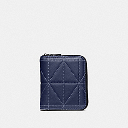 SMALL ZIP AROUND WALLET WITH QUILTING - CADET/BLACK - COACH 38107