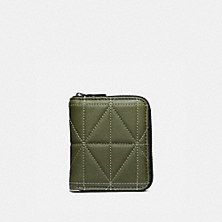 SMALL ZIP AROUND WALLET WITH QUILTING - GLADE/BLACK - COACH 38107