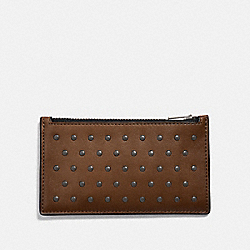 ZIP CARD CASE WITH RIVETS - SADDLE - COACH 38142