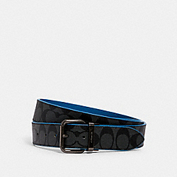 HARNESS BUCKLE CUT-TO-SIZE REVERSIBLE BELT, 38MM - QB/CHARCOAL BLUE JAY - COACH 3815