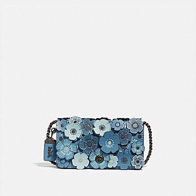 DINKY 玫瑰立體貼花皮革斜背手袋