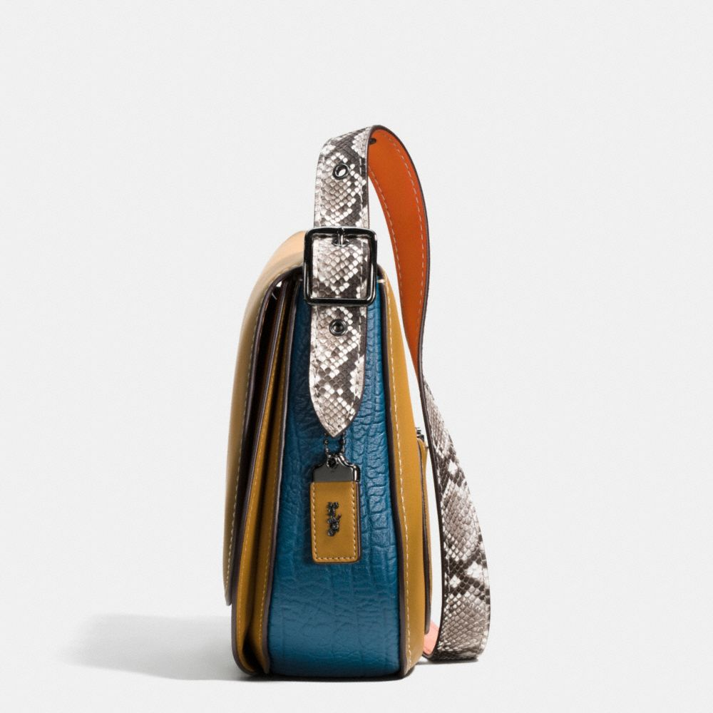 Saddle Bag in Python Colorblock Leather - Alternate View A2