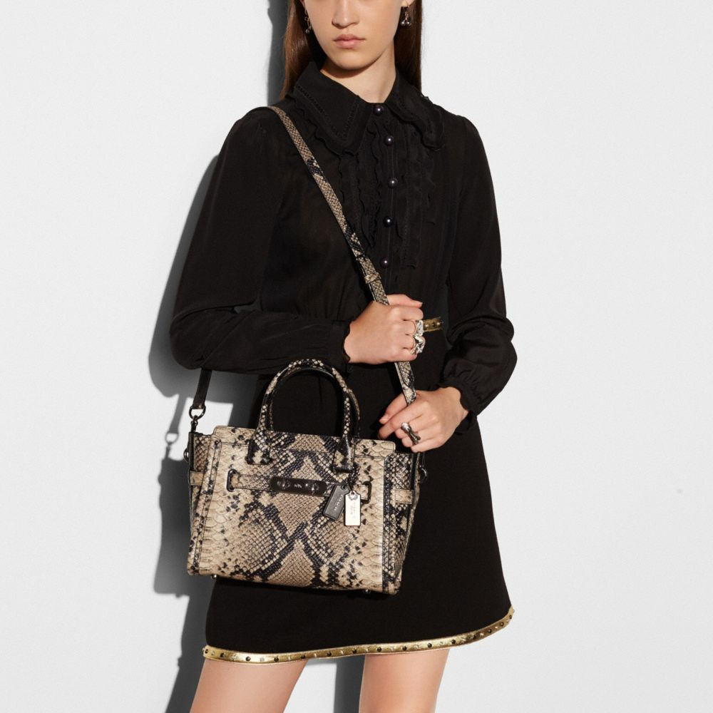 COACH SWAGGER 27 CARRYALL IN SNAKE-EMBOSSED LEATHER - Alternate View