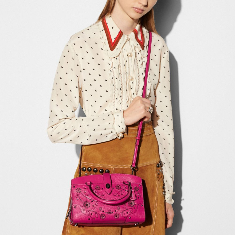 Willow Floral Mercer Satchel 24 in Grain Leather - Alternate View A3