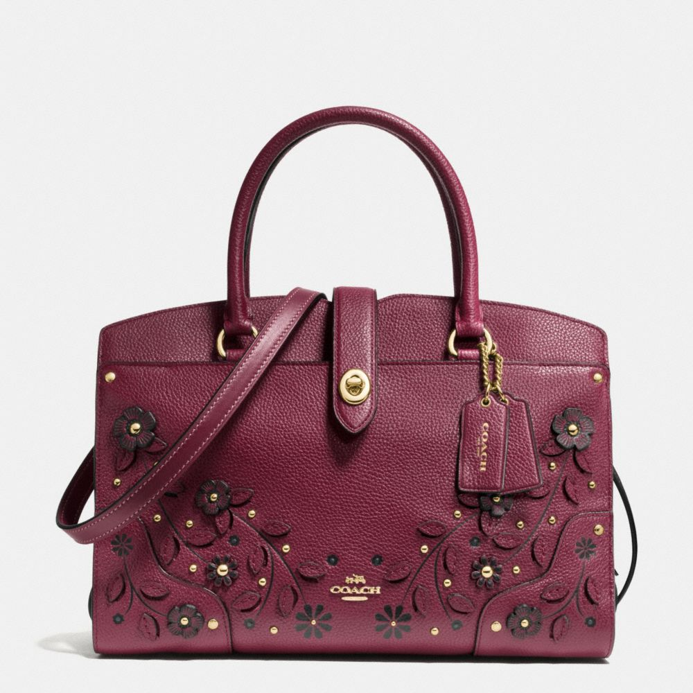 WILLOW FLORAL MERCER SATCHEL 30 IN GRAIN LEATHER - Alternate View