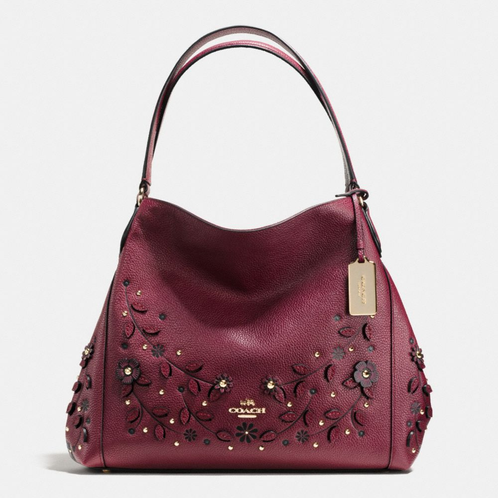 WILLOW FLORAL EDIE SHOULDER BAG 31 IN PEBBLE LEATHER