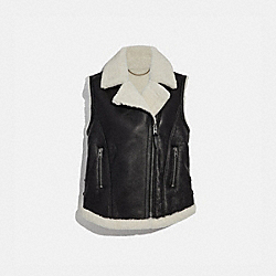 SHEARLING MOTO VEST - BLACK - COACH 38466