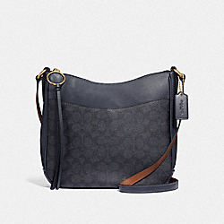 CHAISE CROSSBODY IN SIGNATURE CANVAS - CHARCOAL/MIDNIGHT NAVY/GOLD - COACH 38579