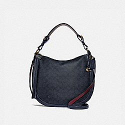 SUTTON HOBO IN SIGNATURE CANVAS - CHARCOAL/MIDNIGHT NAVY/GOLD - COACH 38580